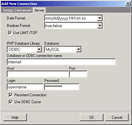 Configuring the Server-Side Database Connection